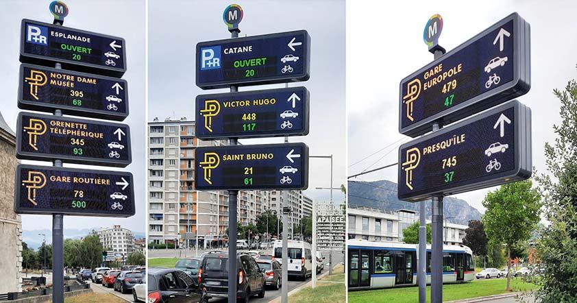 jalonnement dynamique de parking de grenoble