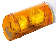 RAMPE LUMINEUSE LED - 4 FEUX ORANGE - 12/24 V - 970 mm - AVEC TEXTE -