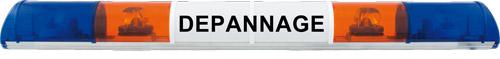 RAMPE LUMINEUSE HALOGÈNE - 4 FEUX (ORANGE/BLEU) - 12 V - 1400 mm - AVEC TEXTE -