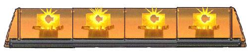 RAMPE LUMINEUSE LED - 4 FEUX ORANGE - 12/24 V - 970 mm - SANS TEXTE -