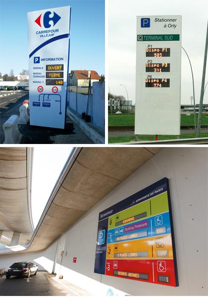 Totem + afficheur dynamique à leds - Parking Carrefour, Auchan, Leclerc