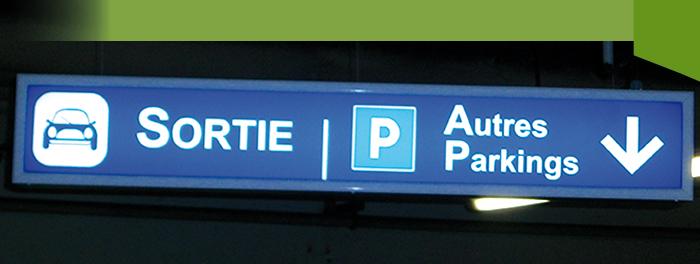 Caisson parking lumineux à parecloses