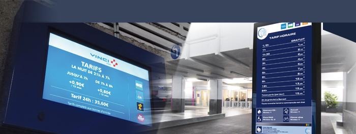 Totem et écran numérique avec outil dynamique de supervision Mediathem